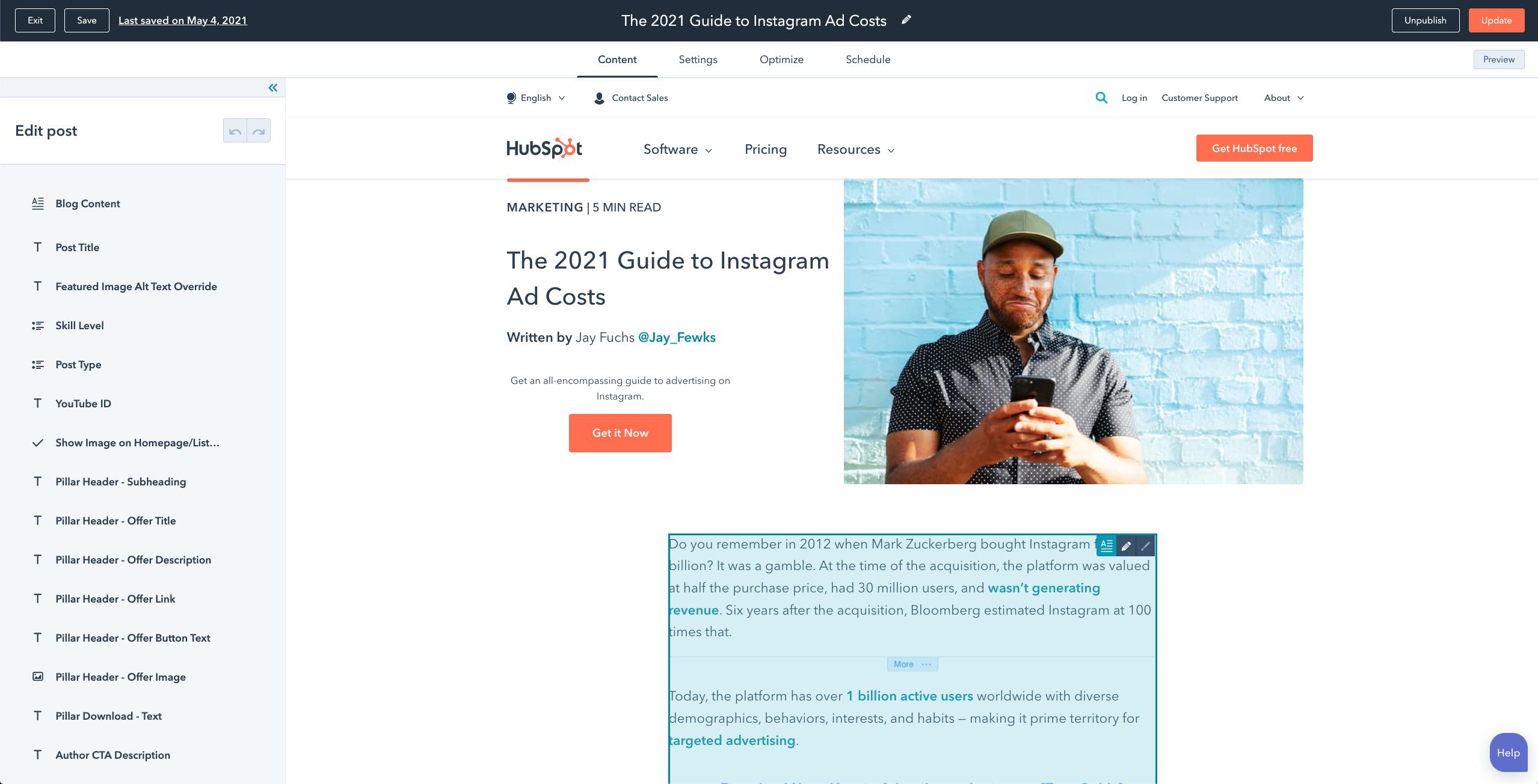 HubSpot narzędzie blogowe