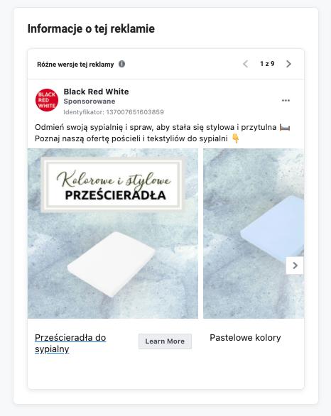 Biblioteka reklam Facebook - analiza celu i strony docelowej