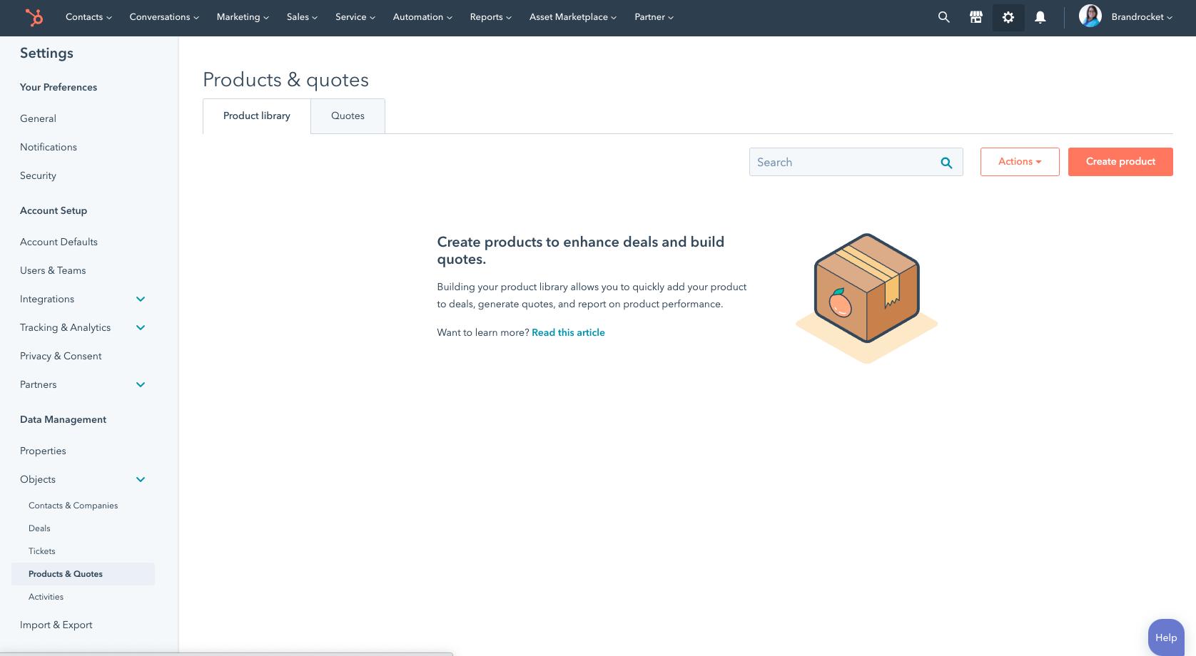 Narzędzie do tworzenia wycen HubSpot - Biblioteka produktów