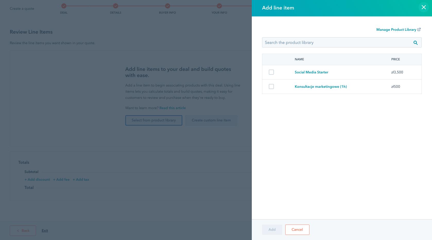 HubSpot Quotes - wybór z Biblioteki produktów i usług