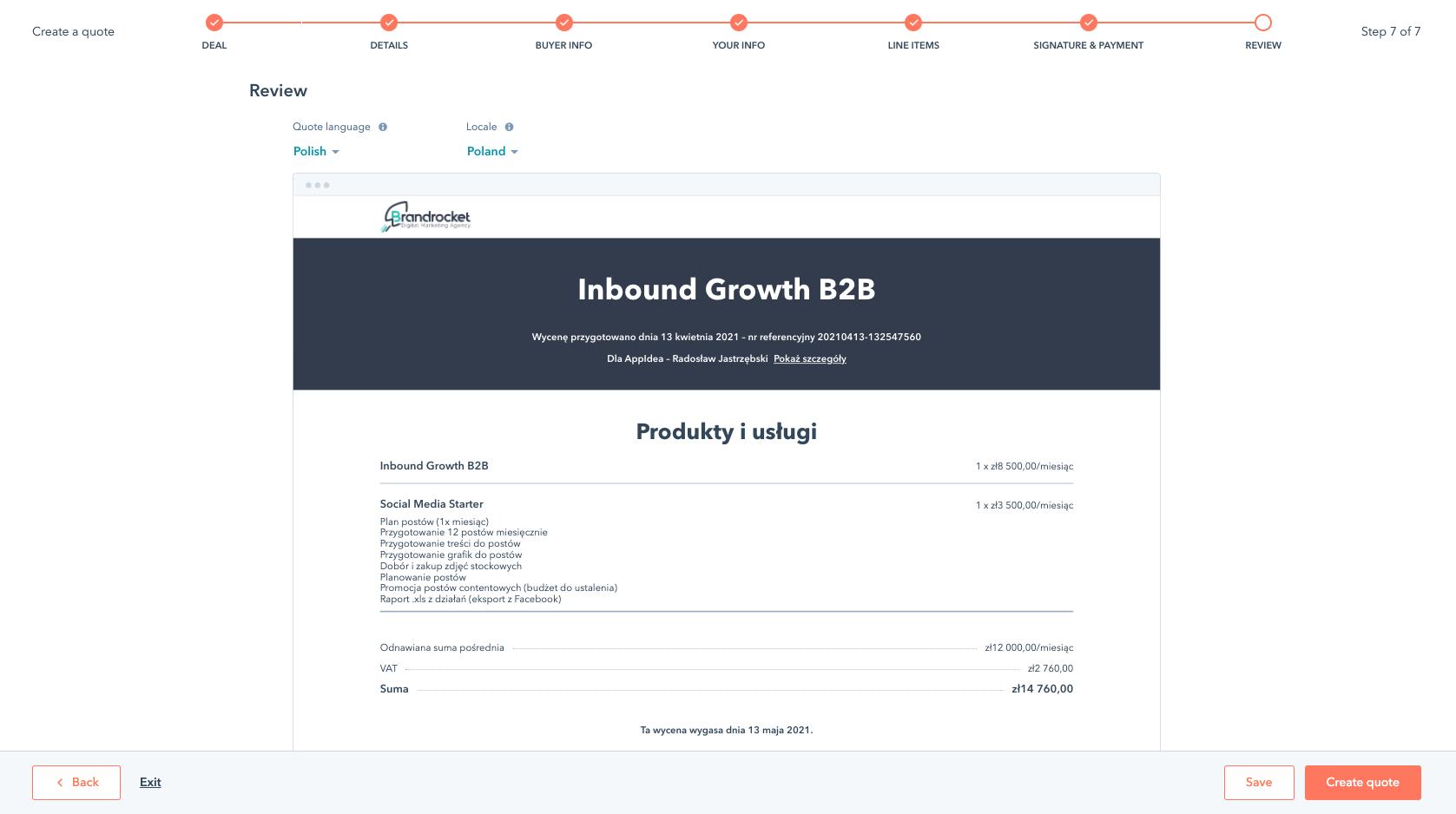 Tworzenie wyceny w HubSpot - podsumowanie